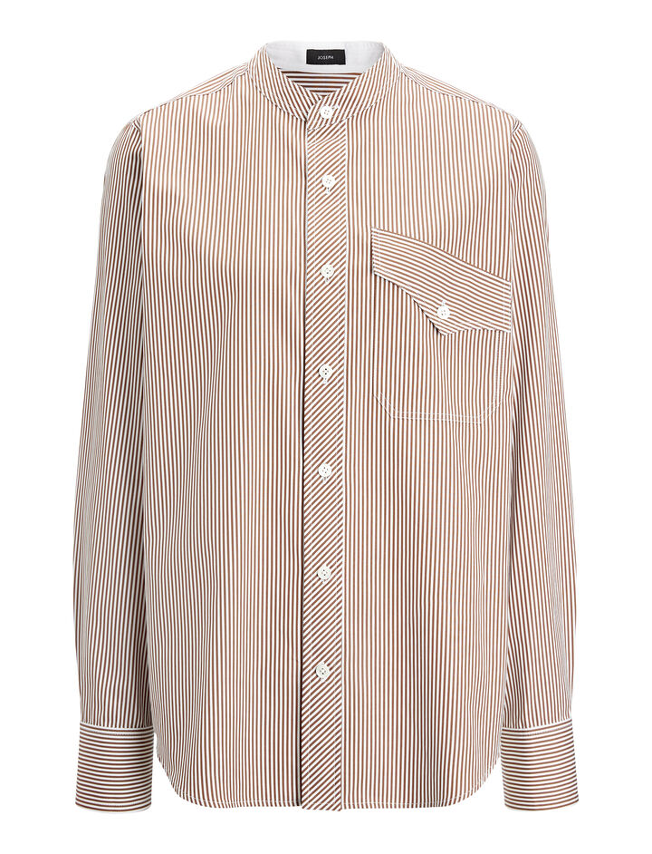 Retro Stripe Sadie Blouse, in CHOCOLATE, large | on Joseph