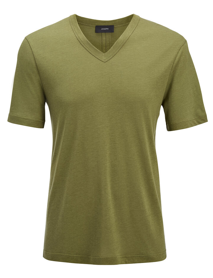 Lyocell Jersey V Neck Tee, in KHAKI, large | on Joseph