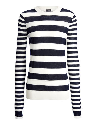 Cashair Stripe Sweater, in ECRU/NAVY, large | on Joseph
