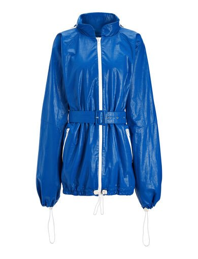 Paper Leather Lambskin Skip Jacket, in ELECTRIC, large | on Joseph