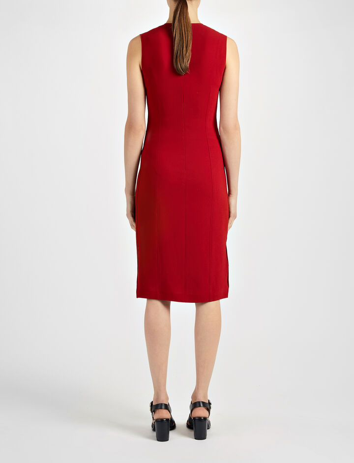 Crepe Stretch Sadie Dress, in OXBLOOD, large | on Joseph