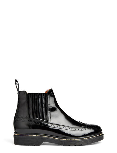 Stil Lux Motley Brogue Boots, in BLACK, large | on Joseph