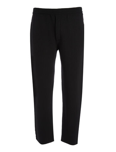 Double Face Knit Jogger, in BLACK/RED, large | on Joseph