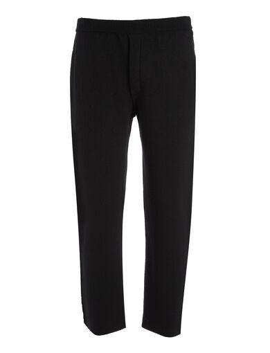 Pantalon jogger en tricot double face, in BLACK/RED, large | on Joseph