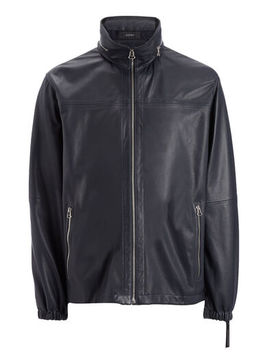 Matt Nappa Beck Leather Jacket, in NAVY, large | on Joseph