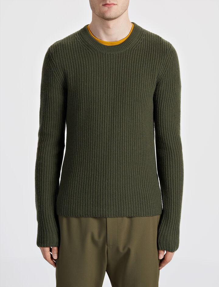 Military Cashmere Sweater, in KHAKI, large | on Joseph