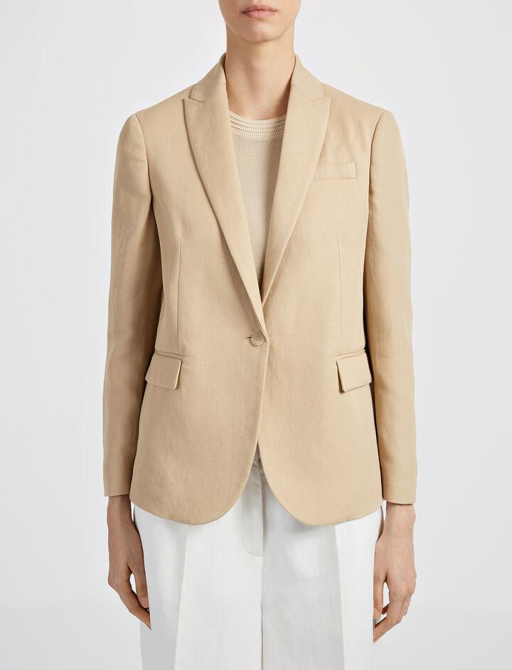 Ramie Cotton Savoy Jacket, in CAMEL, large   on Joseph