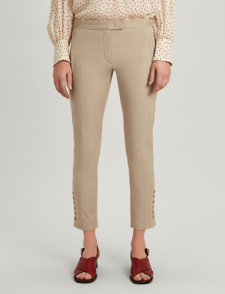 Polished Cotton Stretch Finley With Buttons Trousers, in ECRU, large | on Joseph