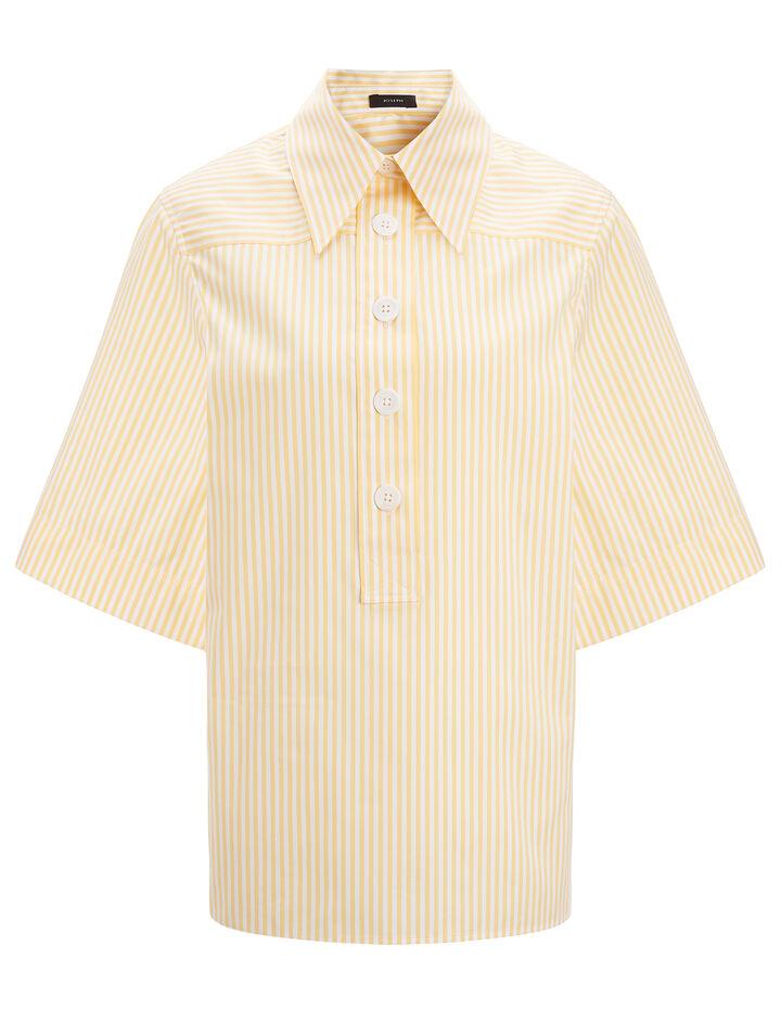 Joseph, Candy Stripe Cotton Shirt, in CUSTARD