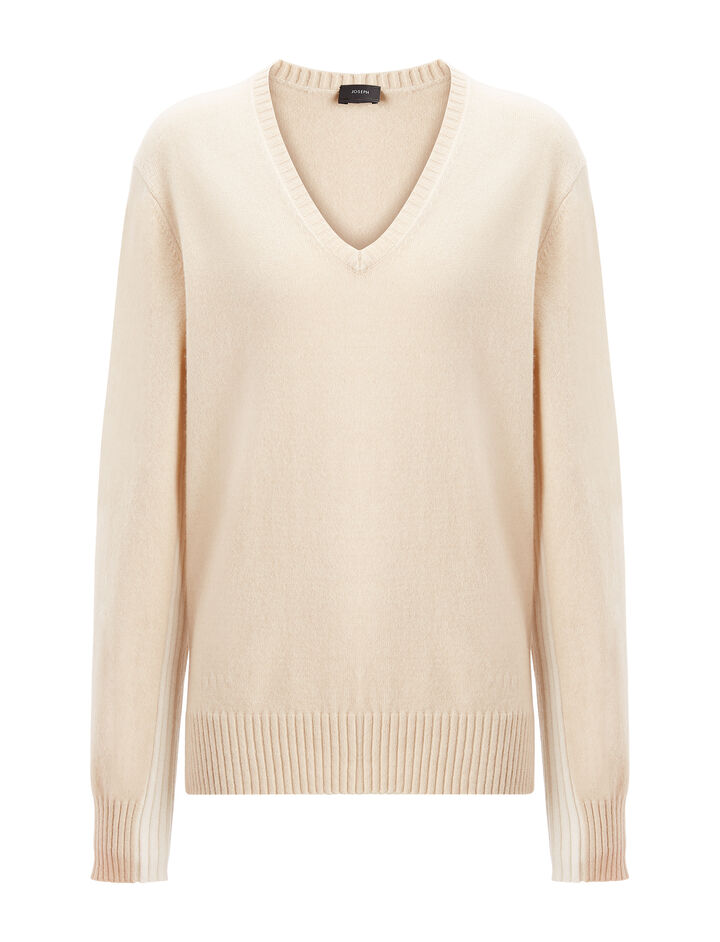 Mongolian Cashmere V Neck Sweater, in BEIGE CHINE, large | on Joseph