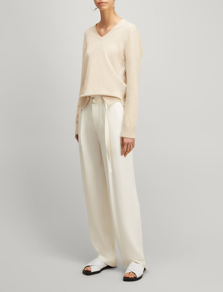 Mongolian Cashmere V Neck Sweater, in BEIGE CHINE, large   on Joseph