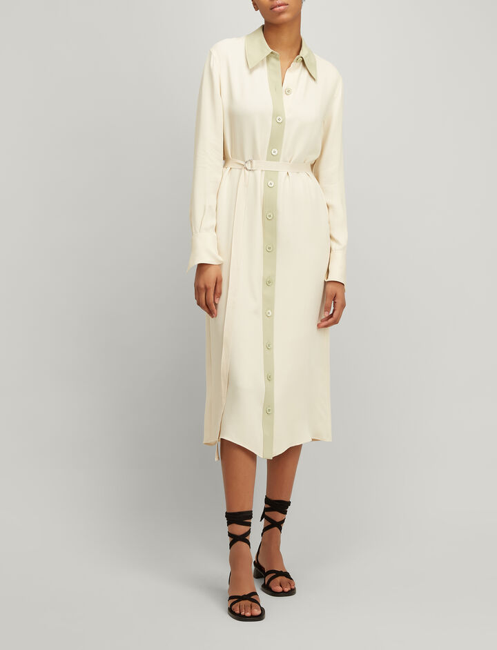 Crepe Silk Lucas Dress, in CUSTARD, large | on Joseph