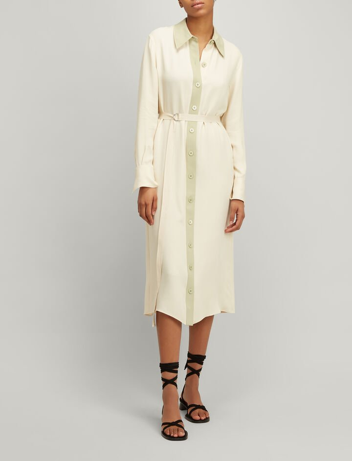 Joseph, Crepe Silk Lucas Dress, in CUSTARD