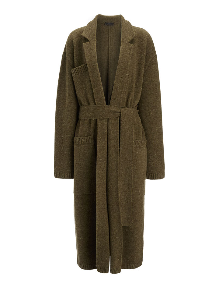 Manteau en tricot de laine pure, in ARMY, large | on Joseph