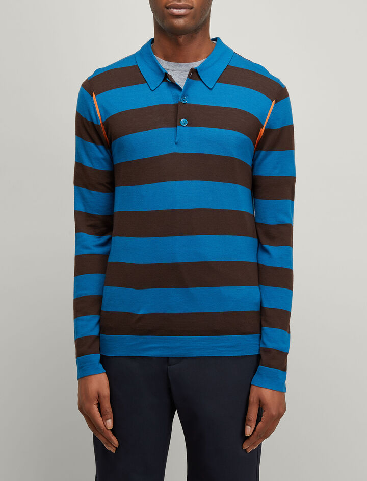 Joseph, Light Stripe Rugby Polo, in AEGEAN/WALNUT