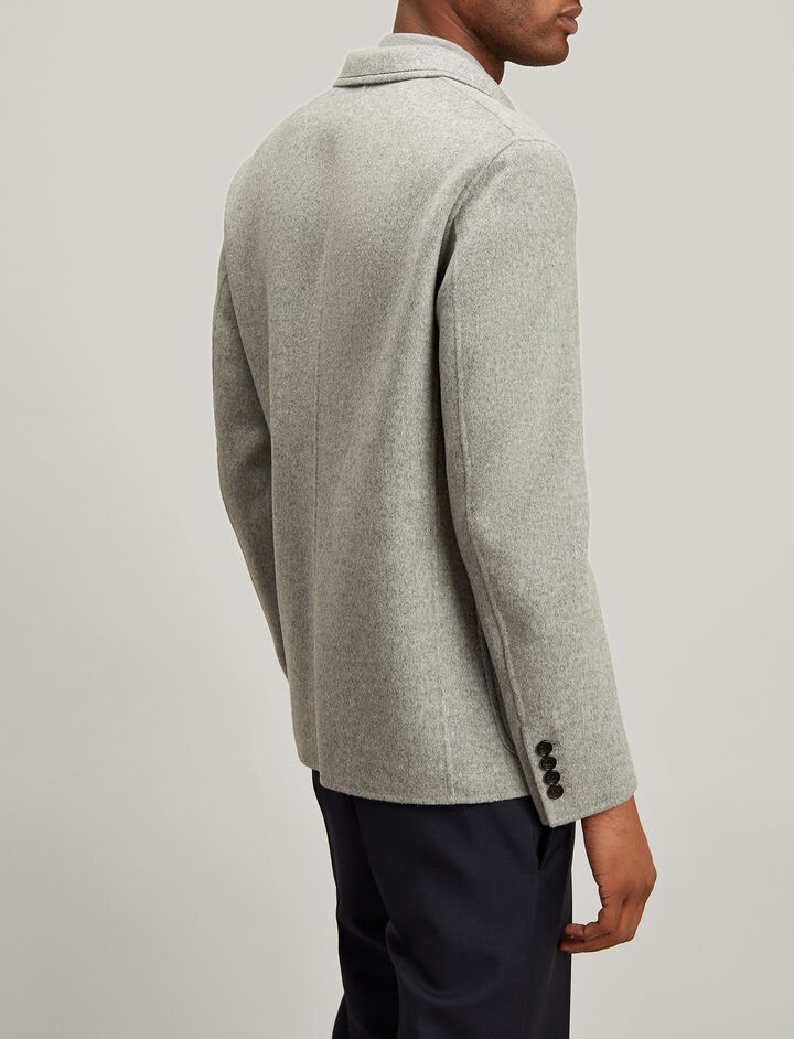 Double Wool Kerby Jacket, in GREY CHINE, large | on Joseph