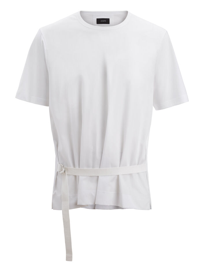 Joseph, Poplin + Mercerized Jersey Top, in WHITE