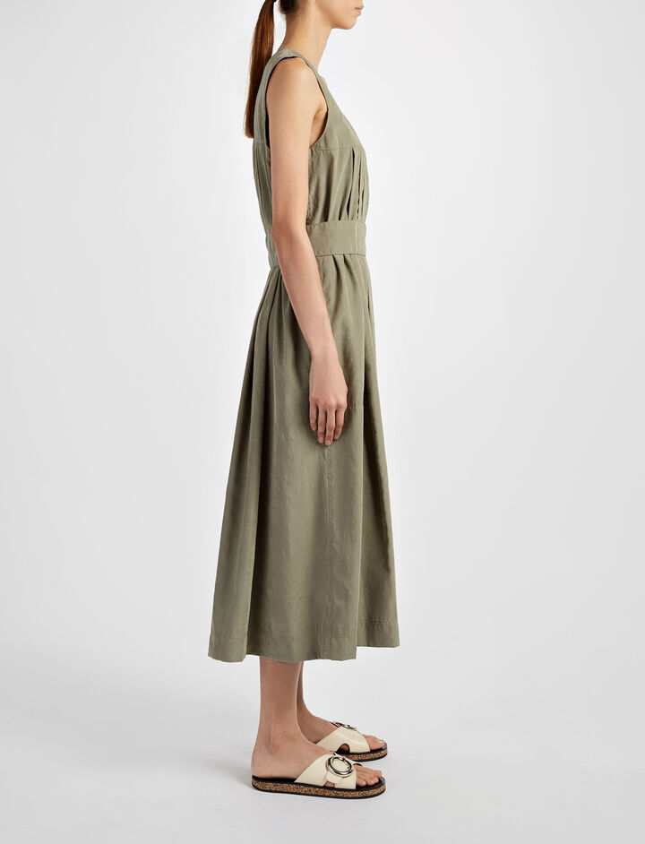 Cupro Phoenix Dress, in FATIGUE, large | on Joseph