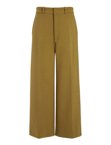 Bi-Stretch Wool Ferrandi Crop Trousers, in OLIVE, large | on Joseph