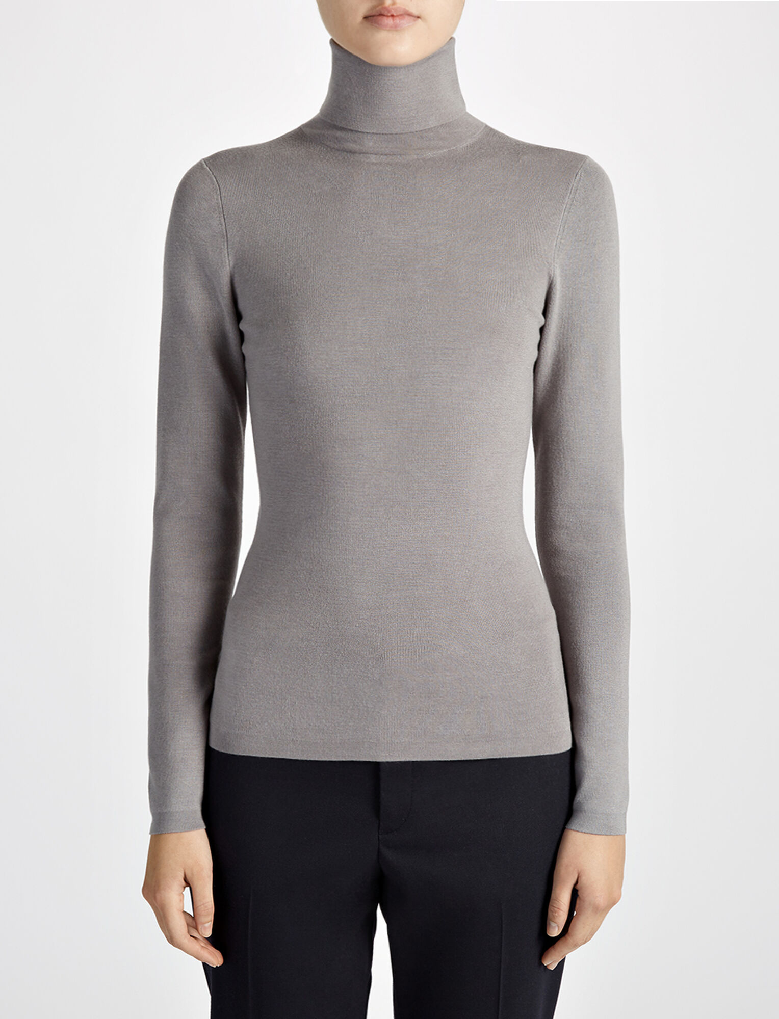 Silk Stretch Roll Neck, in MARBLE, large | on Joseph