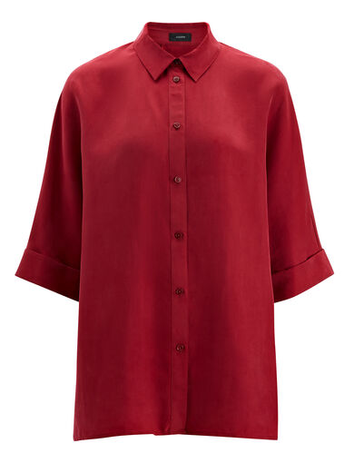 Parachute Silk Bryce Blouse, in CRANBERRY, large | on Joseph