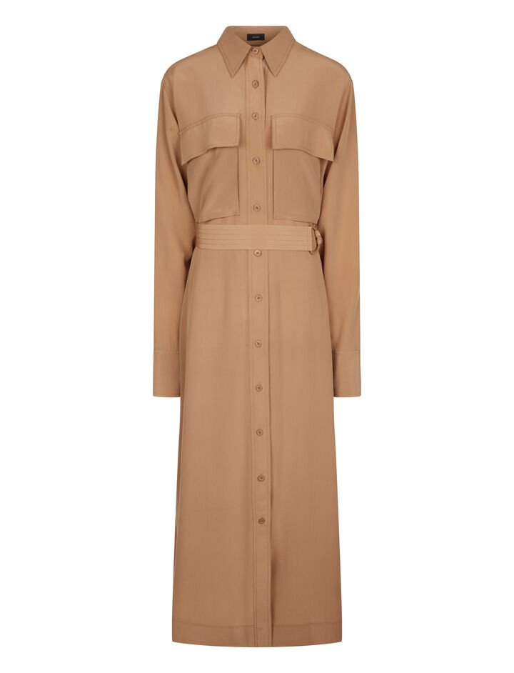 Joseph, Warren Crepe de Chine Dress, in CAMEL