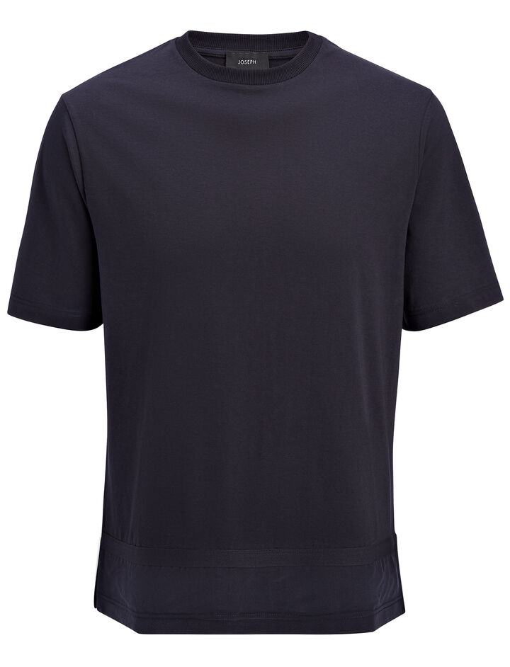 Mercerized Jersey and Silk Tee, in NAVY, large | on Joseph