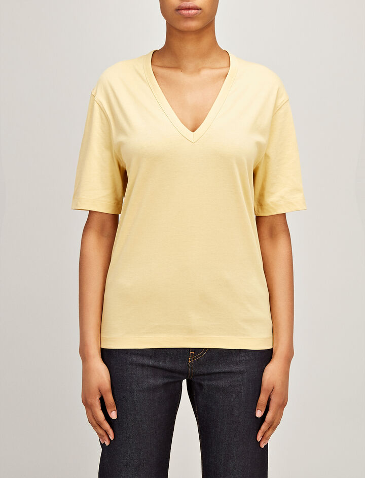 Mercerized Jersey V Neck Tee, in CUSTARD, large | on Joseph