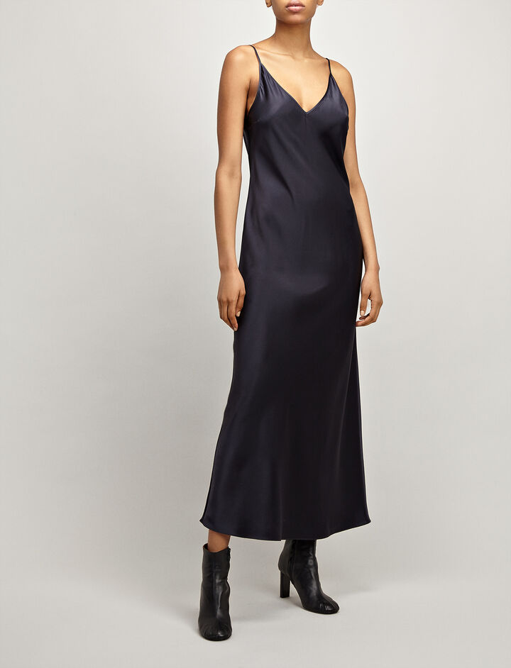 Joseph, Silk Satin Clea Dress, in INK