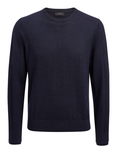 Merinos + Rib Patch Sweater, in NAVY, large | on Joseph