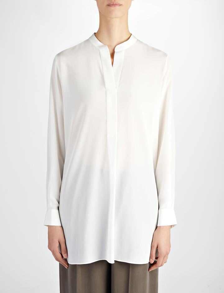 Joseph, Crepe de Chine Lara Blouse, in CHALK