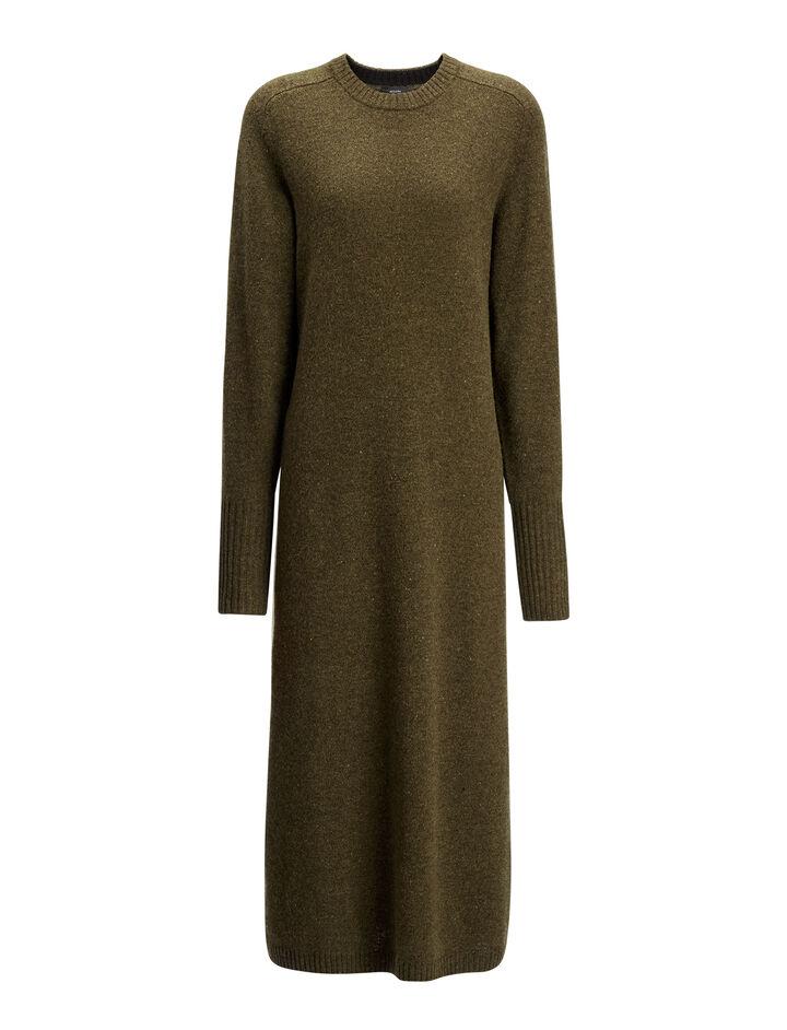 Robe Jo en tricot de laine pure, in ARMY, large | on Joseph
