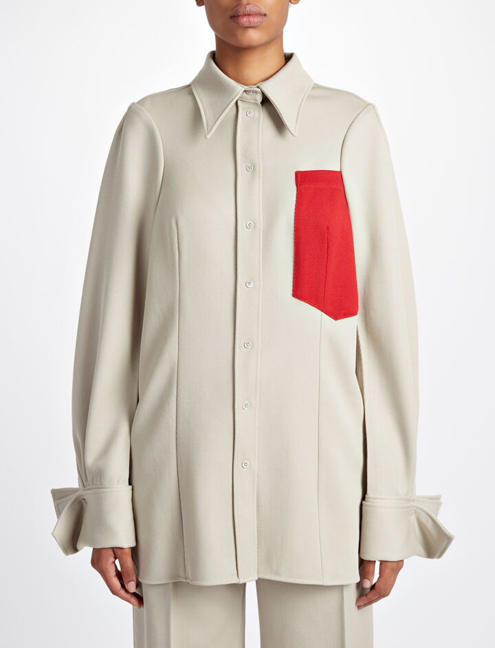 Cavalry Twill Moss + Pocket Blouse, in STONE, large   on Joseph