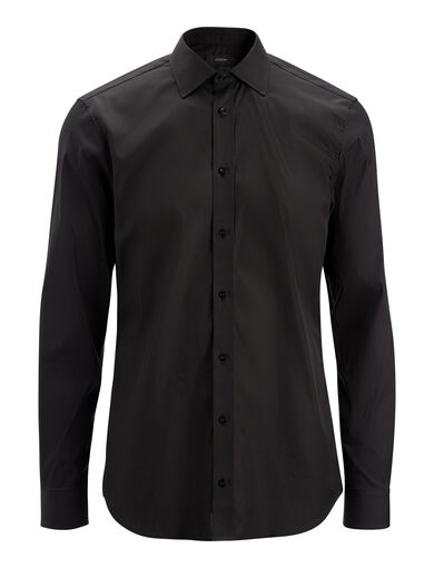 Poplin + Poplin Stretch Cecile Shirt, in BLACK, large | on Joseph