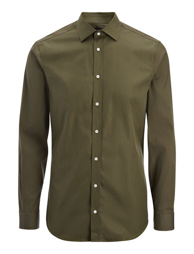 Chemise Cecil en popeline et popeline stretch, in KHAKI, large | on Joseph