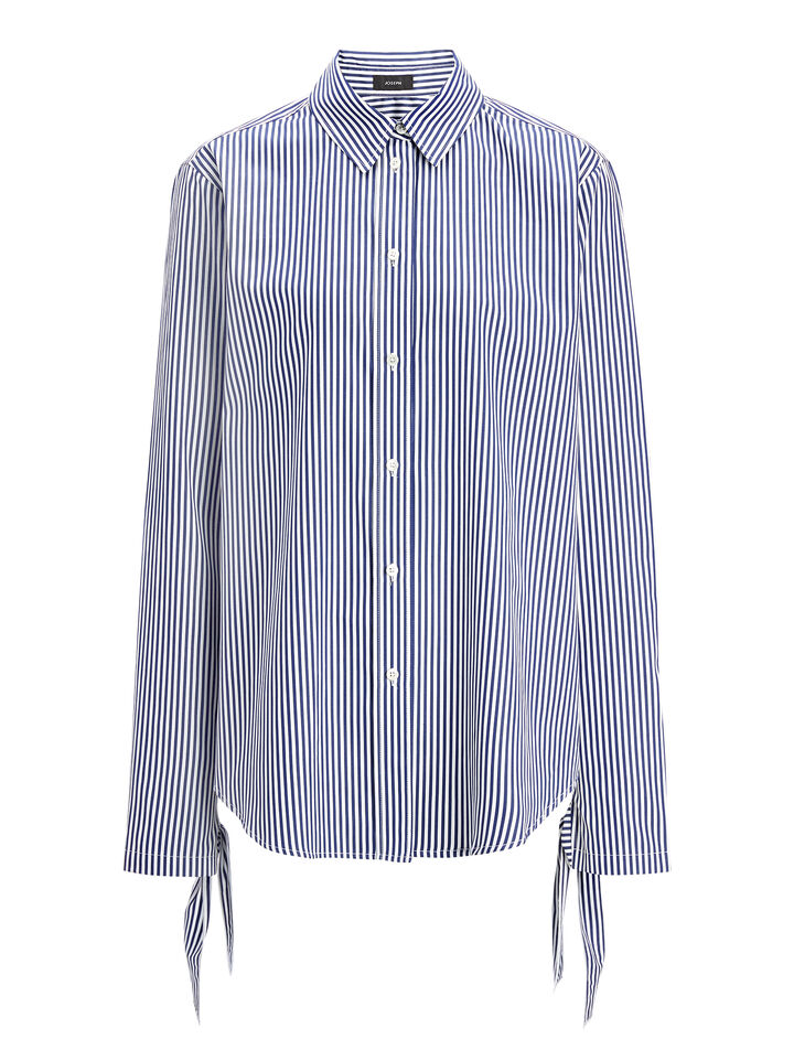 Stripe Forever Thomas Blouse, in NAVY/WHITE, large | on Joseph
