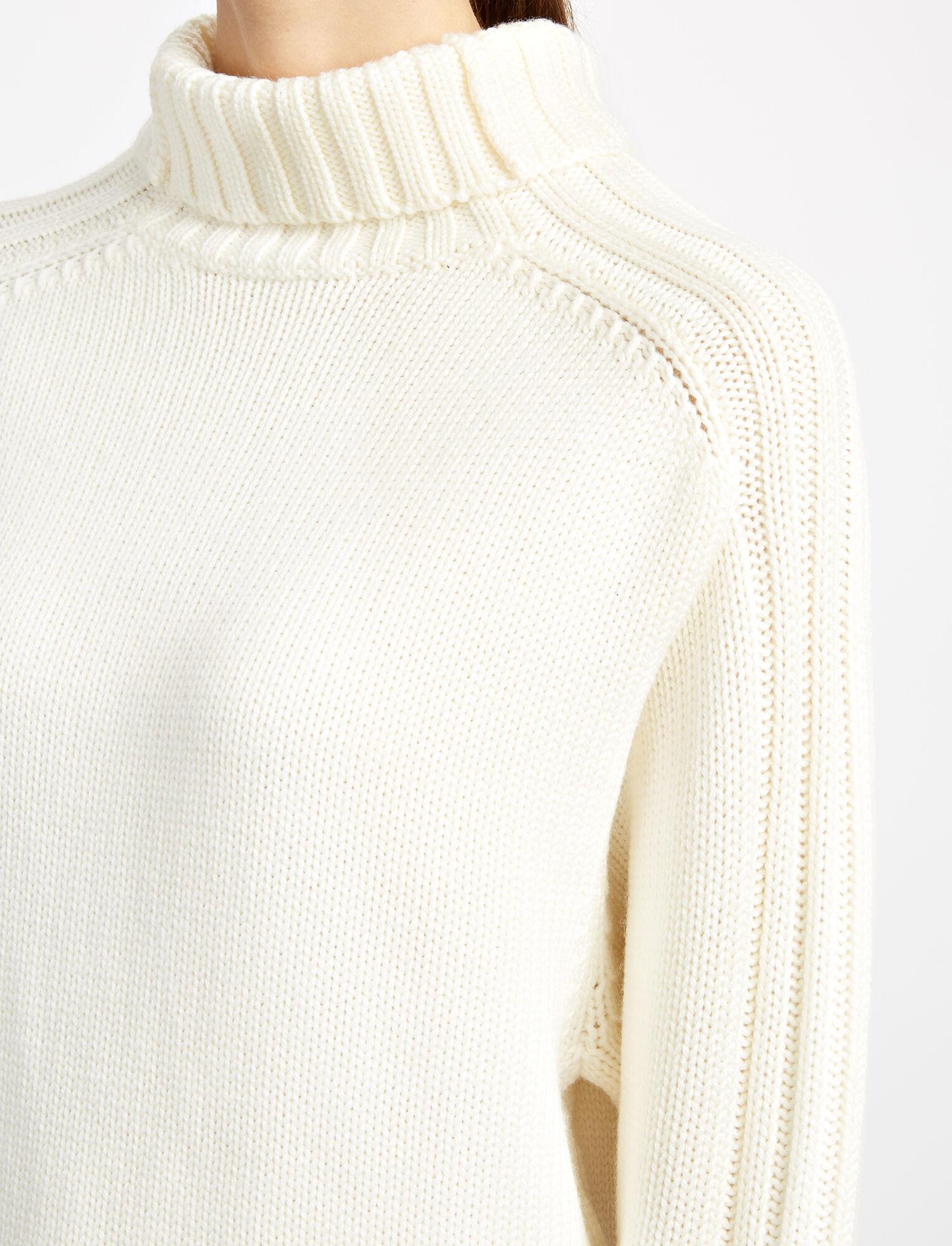 Chunky Knit High Neck Sweater, in BONE, large | on Joseph