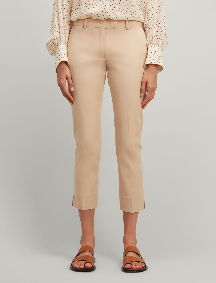 Joseph, Polished Cotton Stretch Bing Court Trousers, in STUCCO