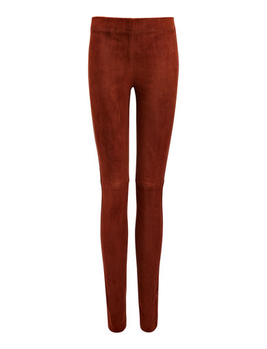 Suede Stretch Legging, in RUST, large | on Joseph