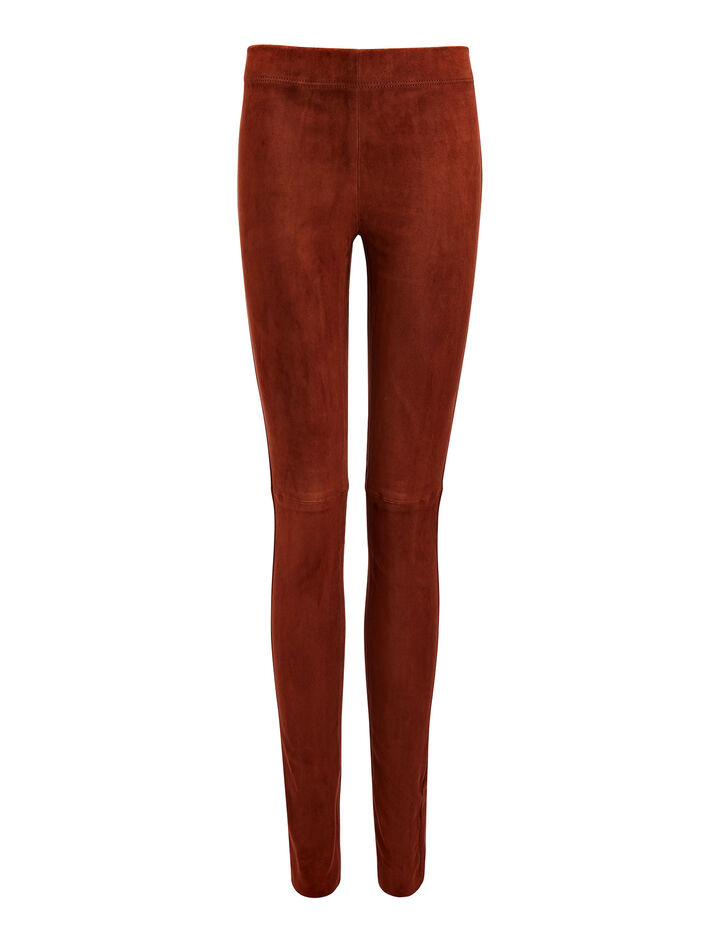 Suede Stretch Leggings, in RUST, large | on Joseph
