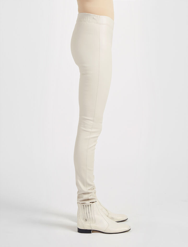 Leather Stretch Legging, in STONE, large | on Joseph