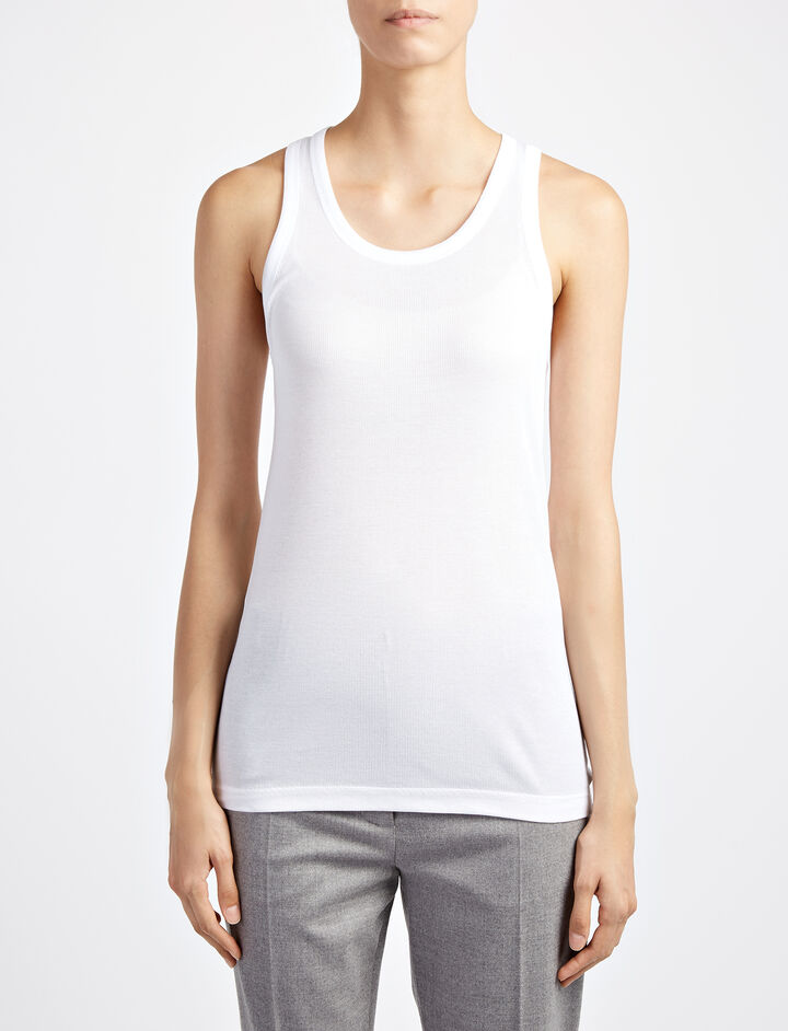 Cotton Rib Tank, in WHITE, large | on Joseph