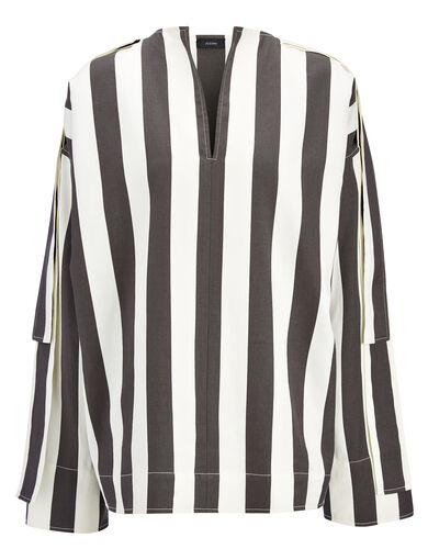 Wide Stripe Shirting Denver Blouse, in BLACK/WHITE, large | on Joseph