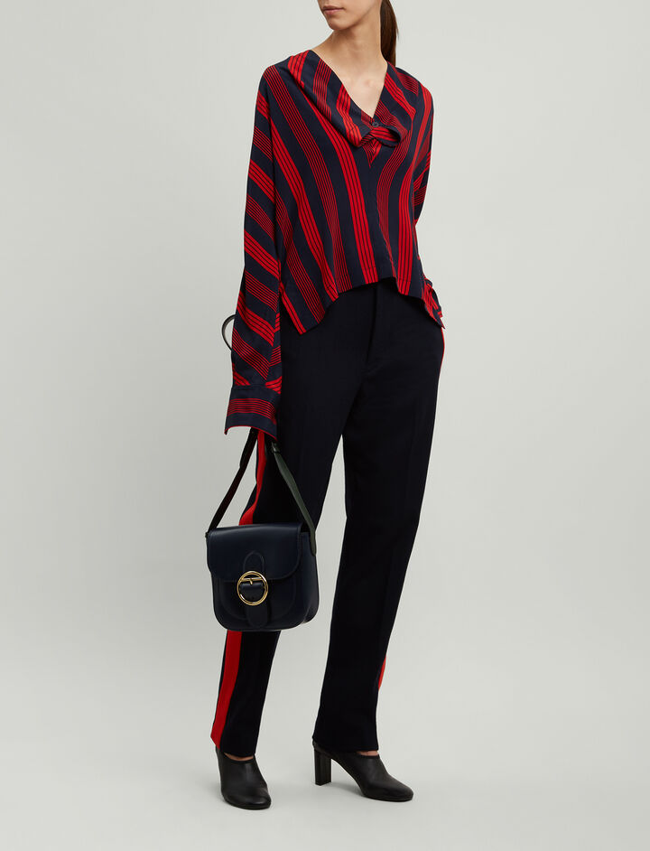 Joseph, Leigh Military Stripe Blouse, in NAVY/RED