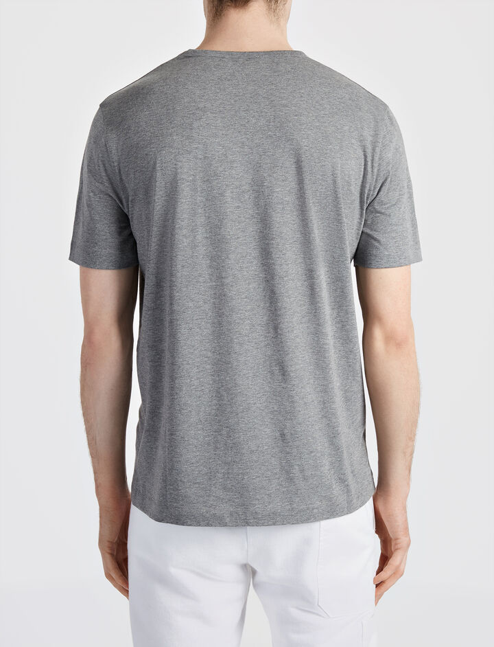 Mercerized Jersey V Neck Tee, in GREY CHINE, large | on Joseph