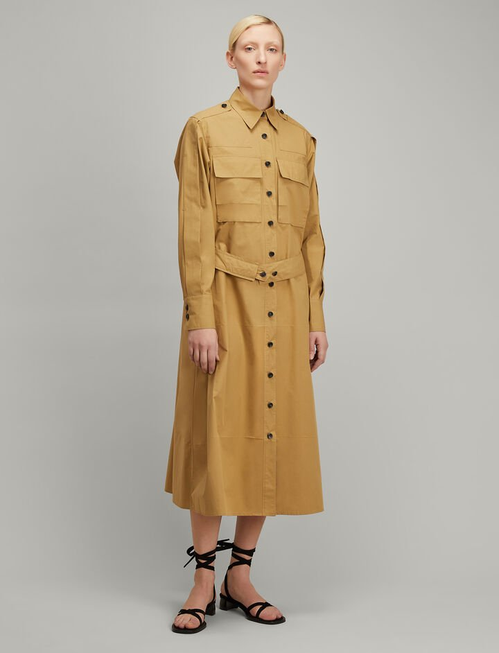 Joseph, Cotton Poplin Hayes Dress, in CAMEL