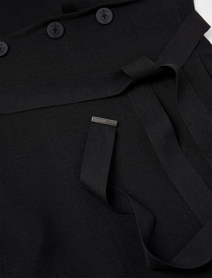 Robe Idaho en coton et crêpe double, in BLACK, large | on Joseph