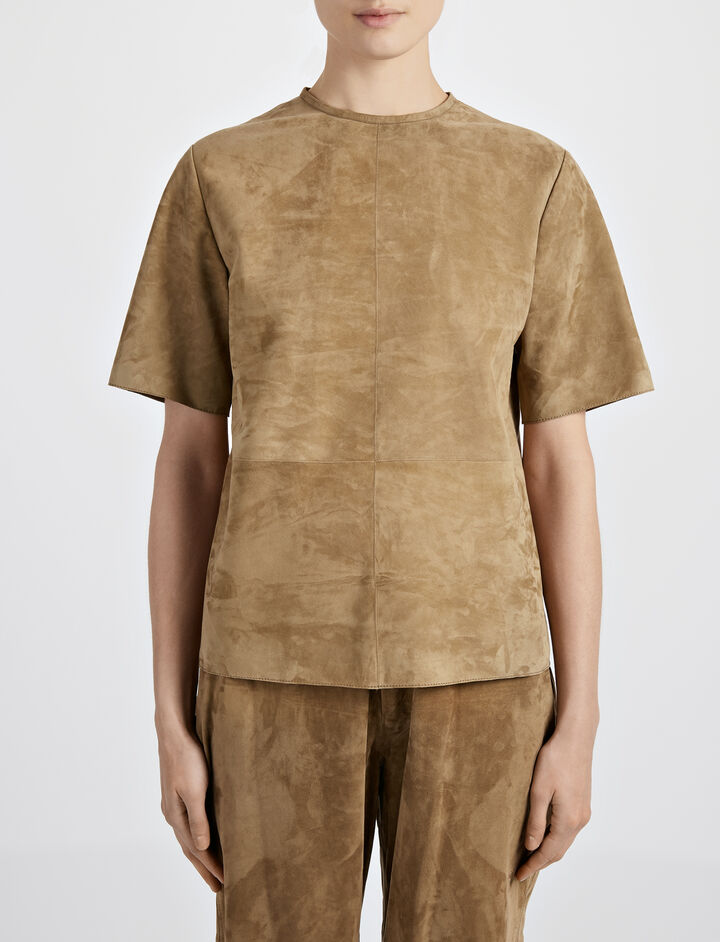 Cashmere Suede Bento Tee, in ARMY, large | on Joseph