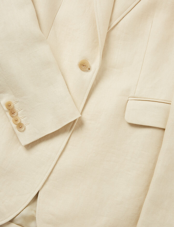 Linen Twill Laurent Jacket, in SAND, large | on Joseph