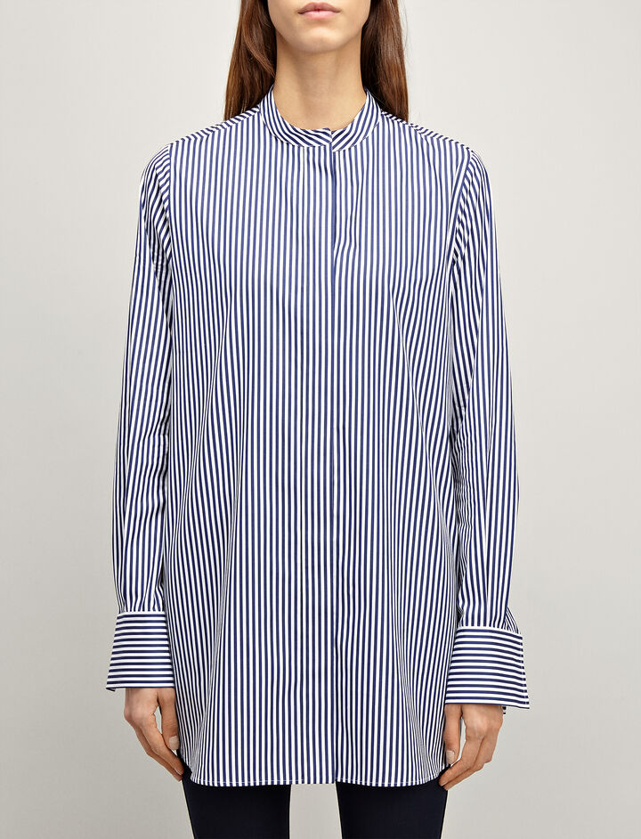 Candy Stripe Carla Blouse, in MARINE, large | on Joseph